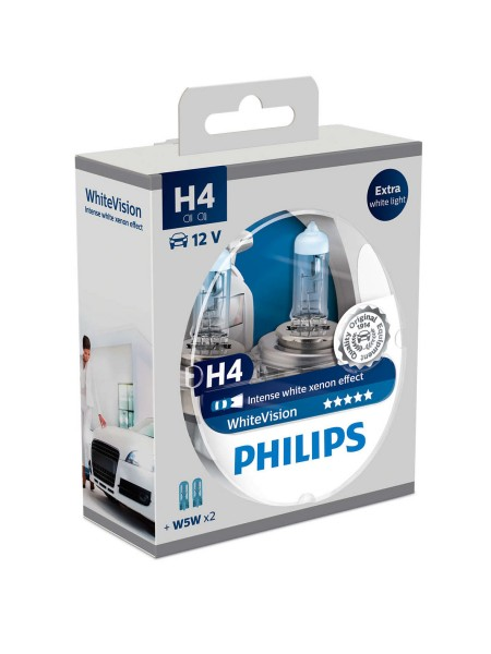 PHILIPS H4 White Vision + 2x PHILIPS T10