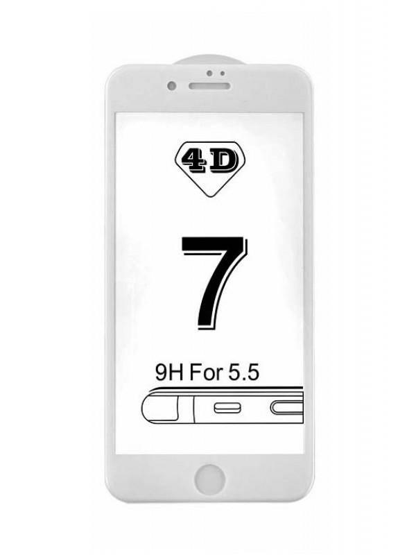 Prémiové 4D temperované sklo iPhone 6+/6S+ biele