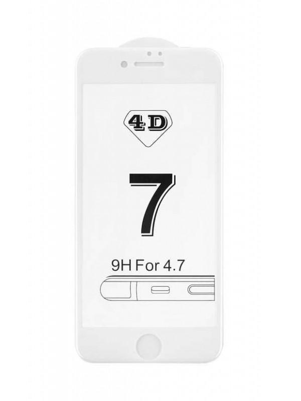 Prémiové 4D temperované sklo iPhone 7/8 biele