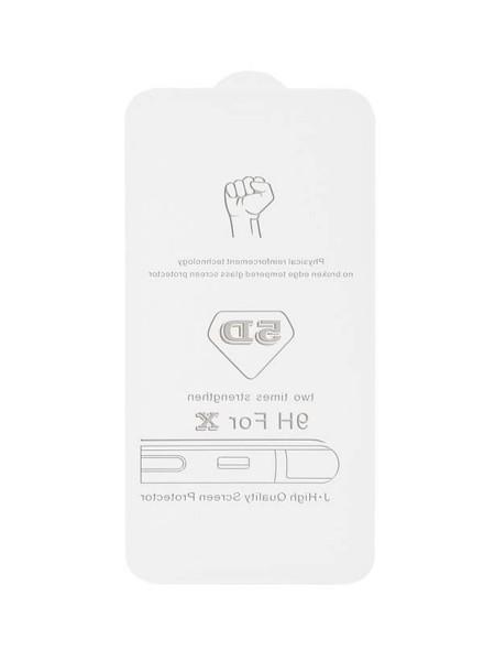Prémiové 5D temperované sklo iPhone X biele